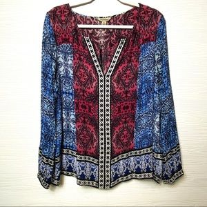 Lucky Brand Boho Chic Peasant Blouse XL